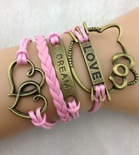 3pcs Pink lovers t -copper LOVE ,Hello Kitty Bracelet,Dream  heart- bride or bridesmaid, 845