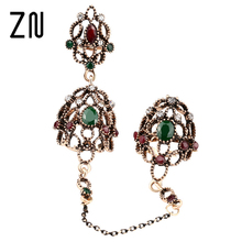 New Turkish Jewelry Vintage Ring Hollow Out Flower Plating Antique Gold Adjustable Two Finger Rings For Women Gift(China)