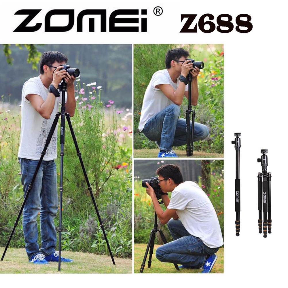 New Zomei Z688 Aluminum Professional Tripod Monopod + Ball Head For DSLR camera Portable / SLR Camera stand / Better than Q666<br><br>Aliexpress