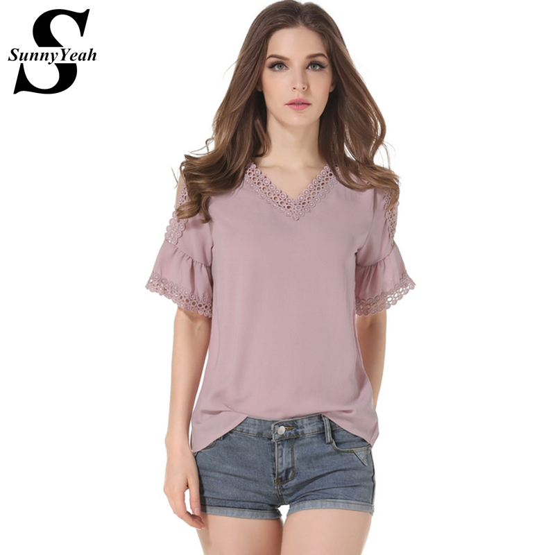 SunnyYeah 2017 Summer Women Chiffon Blouses Elegant Pink Black V-Neck1 Lace Blouse Tops Casual Blusas Plus Size Women Clothing