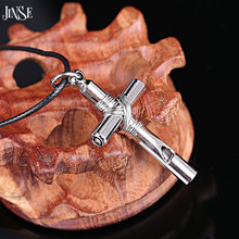 JINSE Retro Whistle Cross Silver Plated Men Necklace Factory Price High Quality Fashion Jewelry For Gift NEK017(China)