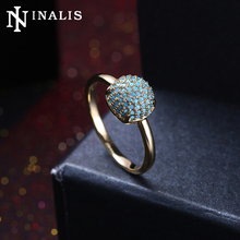 INALIS Luxury Gold/Black Color Wedding Band Rings Vintage Pave Setting Turquoises Finger Ring for Women Engagement Party Jewelry