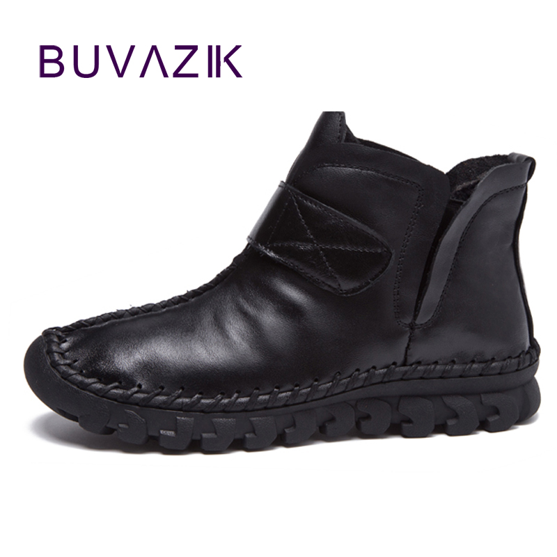 2017 winter new hand-sewn womens genuine leather snow boots comfortable shoes for woman size 35-40<br>