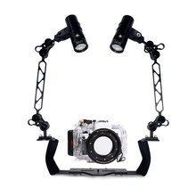 Underwater Waterproof Housing Diving Case For Sony RX100 I II III IV Camera Camera + Dual Lighting Arm Bracket + Led Video Torch