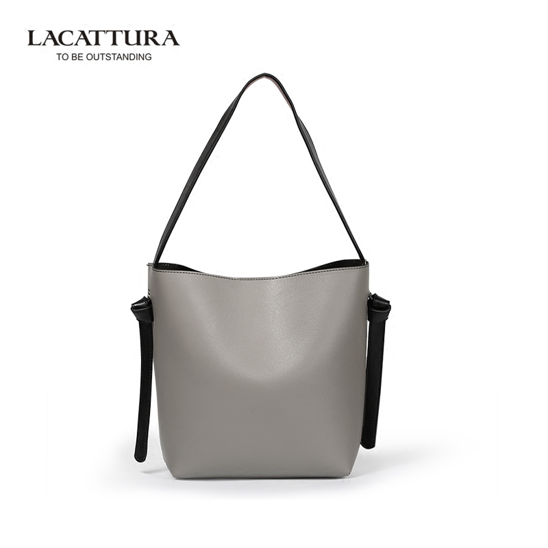 LACATTURA Genuine Leather Women Casual Tote Bag All-match Large Capacity Bucket Bag Shopping Fashion Bag for Lady<br><br>Aliexpress