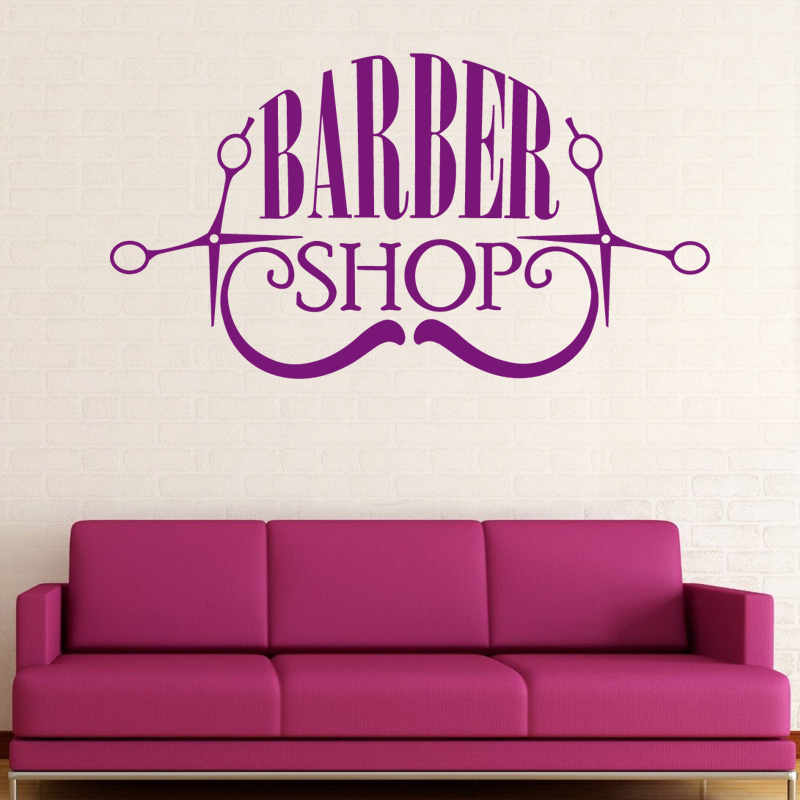 Man Barber Shop Sticker Customized Bread Decal Haircut Shavers Posters Vinyl Wall Art Decals Decor Windows Decoration Mural