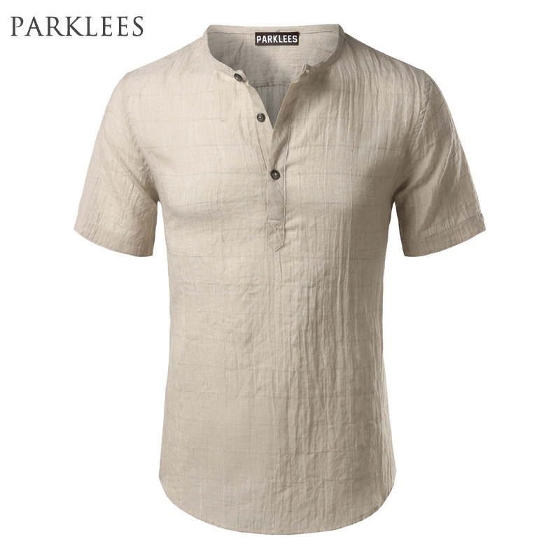 Cotton Linen Plaid Shirt Men 2017 Brand Short Sleeve Men Henley Shirt Slim Fit Chemise Homme Fashion Casual Mens Dress Shirts