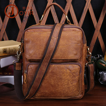 New Men's Fashion Casual Genuine Leather Satchel Handbag Shoulder Bag Small Cowhide Messenger Bag Leather Tote Bags Brown Black