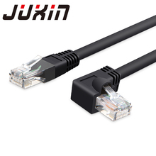 RJ45 cable 24awg 586B CAT5E UTP side angled L shape rj45 patch cord l shape ethernet cable cat5 lan cable(China)