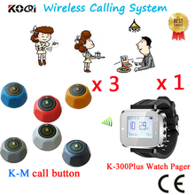 Wireless Call Bell System HOT Wireless Waiter Paging 433mhz Table Buzzer CE Certification Cheapest Price(1 watch +3 call button)(China)