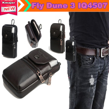 "Genuine Leather Carry Belt Clip Pouch Waist Purse Case Cover for Fly Dune 3 IQ4507 5.0"" Phone Bag Free Drop Shipping"