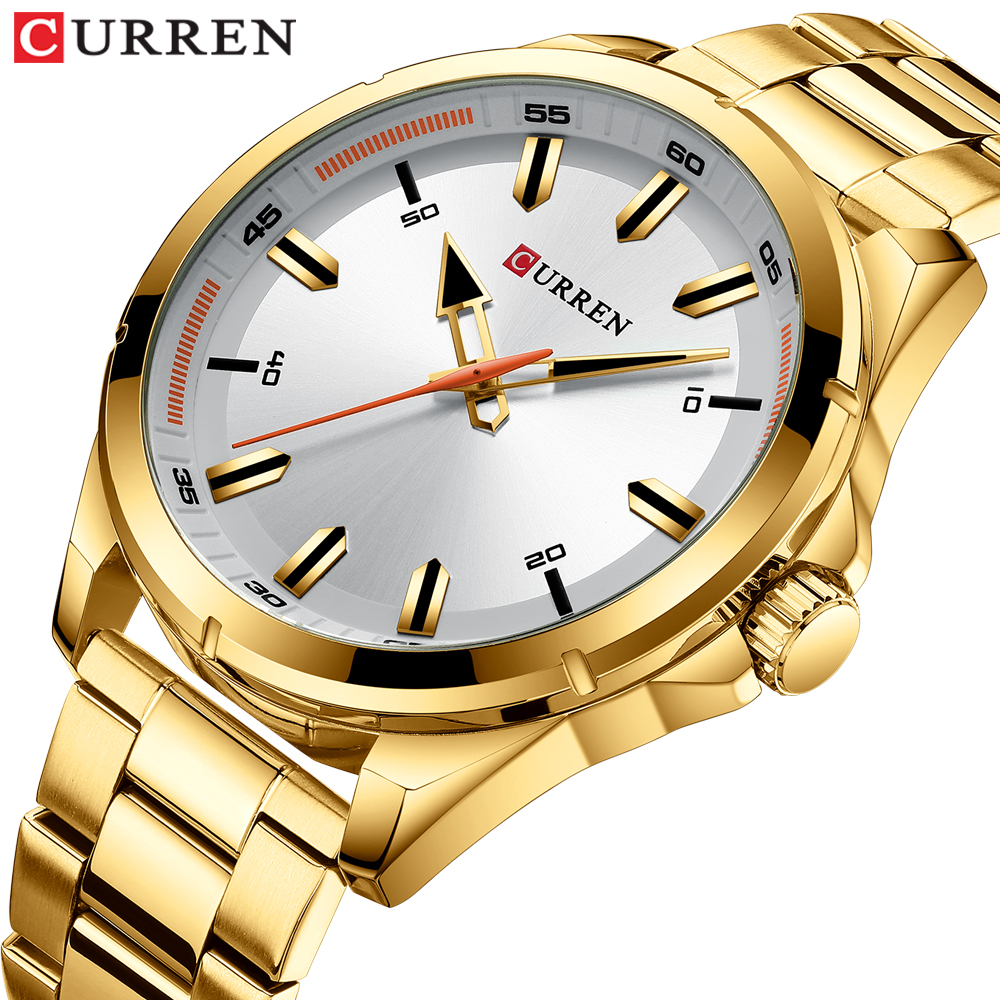 CURREN Gold Watches for Men Simple Business Design Wristwatches with Stainless Steel Band Watches Man Clock 2019 Luxury Brand