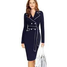 Fashion Casual Sashes Knee length Long Sleeves Spring Womens Pencil Dress Sexy Office Work Formal Plus Size Lady Bodycon Dresses