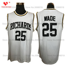 Cheap Richards High School #25 Dwyane Wade Jersey Throwback Basketball Jersey Vintage Retro Basket Shirt For Men Stitched White(China)