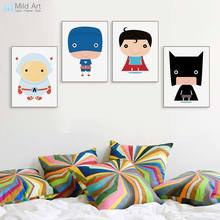 Cartoon Superhero Movie A4 Canvas Art Print Poster Batman Superman Captain Wall Picture Paintings Modern Kids Room Deco No Frame(China)