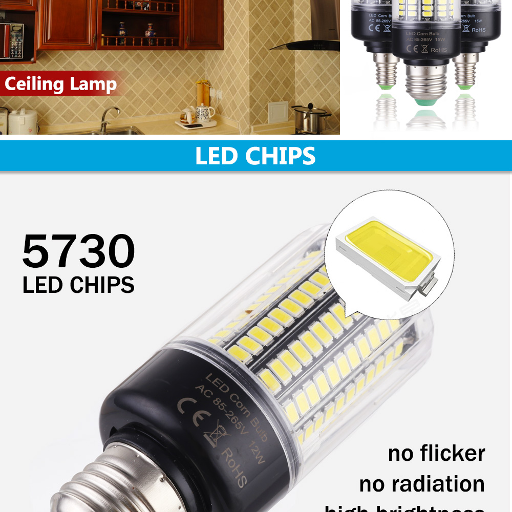 LUCKY LED Corn Bulb Light E27 E14 3W 5W 7W 9W 12W 15W No Flicker 360 degrees for Pendant Light Source AC110V 220V 5730 SMD lamp 5