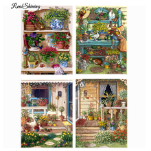 REALSHINING Warm Home Flower Shelf Diamond Embroidery Diy Diamond Paintings Mosaic Picture Pattern Cross Stitch Full Kit D144
