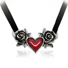 The New Gothic Chokers Necklace With Rose Flower Red Heart Vintage Lolita Style For Women and Girls Halloween Gifts