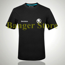Skoda Auto 4S shop T shirt men tooling Owners Group logo custom logo