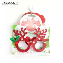 Hoomall 1PC 16cm Xmas Ornaments Photo Booth Props Glasses Party Funny Favor DIY Party Supplies New Year Christmas Decorations