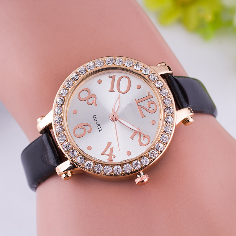2016 New Fashion Watches Women High Quality Brand Luxury Leather Rhinestone Wristwatch Ladie Dress Watch relogios femininos<br><br>Aliexpress
