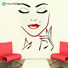 Wall Decals Beauty Salon Girl Face Hand Manicure Nail Lips Long Lashes Closeup Makeup Decal Vinyl Sticker Beauty Salon Decor 763(China)