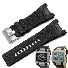 Men's quartz watch belt 32MM Concave interface black brown leather strap for Diesel DZ1216 \ 1273 \ 4246 pin buckle+TOOL