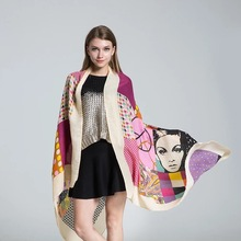 2017 Women Autumn & Winter Scarf Long Cape Scarves & Shawls Elephant pashmina Lonely patients girl Printed Echarpe Foulard Femme
