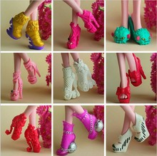 10 Pairs Hot sale High heel shoes for Monster inc hight dolls boneca original girl doll accessories kids birthday gifts