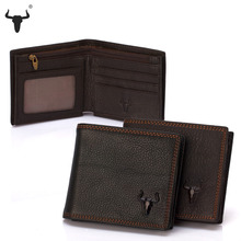 FAMOUSFAMILY Genuine Leather Men Wallets Zip Coin Pocket Retro Design Style Purse Short  Fold Wallet Mens Zipper Bag ID Window