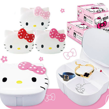 Kawaii Kitty Cat Cosmetic Jewelry Debris Storage Boxs.Bijoux Gift Box Case Holder.Makeup Tools.Table Organizer With Mirror