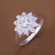 R151 Top Quality Silver Plated & Stamped 925 Sunflower w crystal stone Ring for Women Gift Silver wedding Jewelry Finger