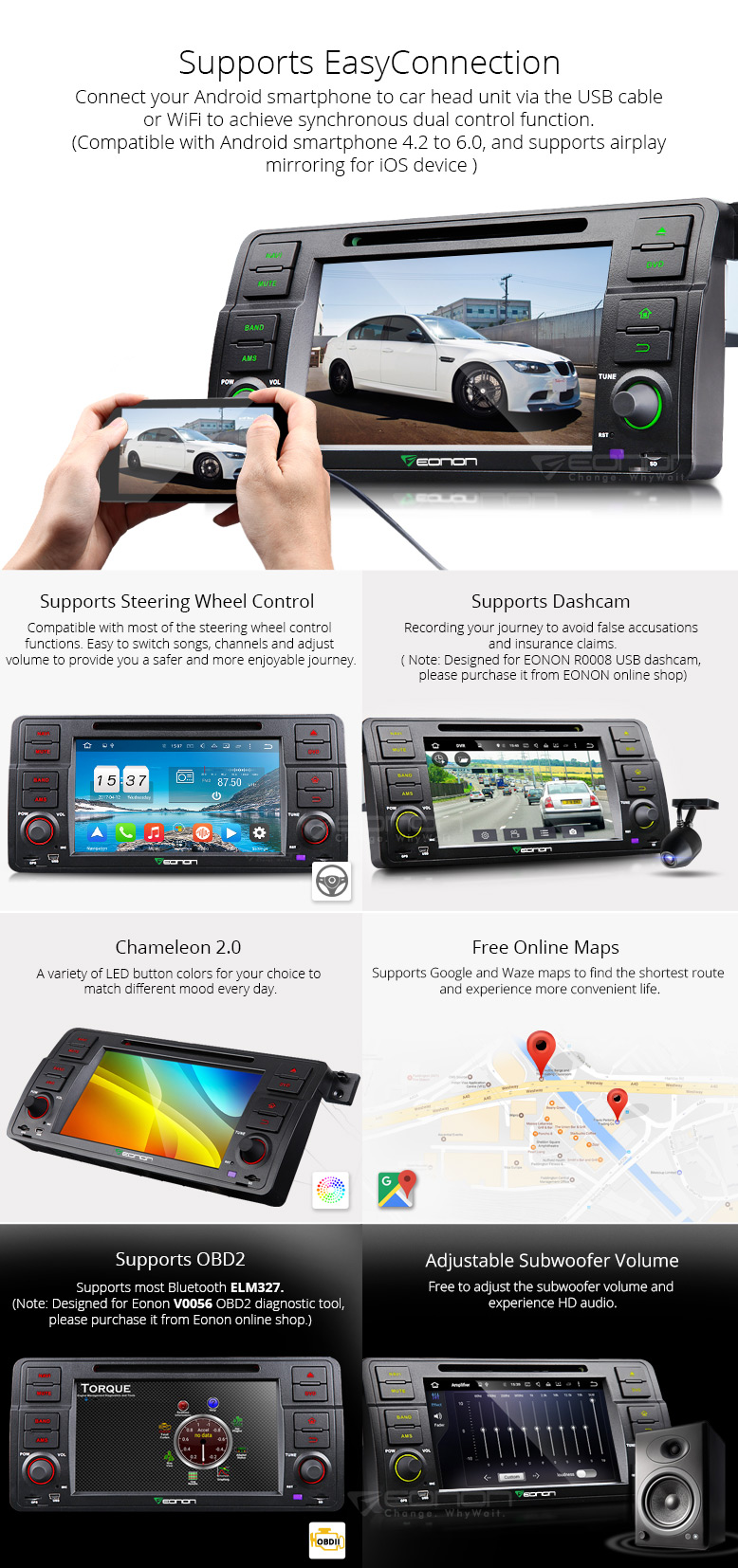 7″ Octa-Core 2GB RAM 32GB ROM Android 6.0 OS Car DVD for BMW 3 Series E46 1998-2006 with Android/Wince Dual UI Switchable