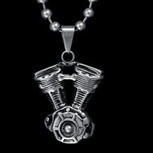 New Design Steampunk Skull Engine Motorcycle Biker Pendant Necklace Titanium Steel Ball Chain Necklace For Gift