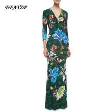 2016 Autumn Luxury Brands Jersey Silk Long Dress Women's Stunning Print v-neck Bodycon Spandex Stretchable Signature Maxi Dress