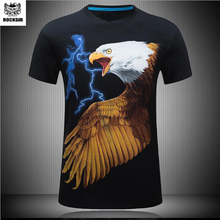 Rocksir New 3D printing Eagle pattern T-shirt men's black 3d t shirt Hip Hop Short Sleeve Casual tops&tees Plus Size Fashion