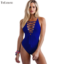 Buy 2018 Sexy One Piece Swimsuit Women Swimwear Bandage Monokini Hollow Bathing Suit Solid Swim Suit Bodysuit Summer Beach Wear