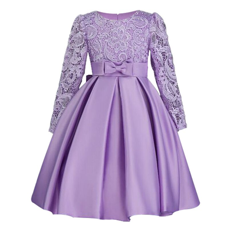 Highend elegant Girls Dresses Long sleeve silk Lace Christmas Clothes Wedding Party Dress For Girl Children's Princess Dresses(China)