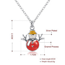 Christmas Gifts Necklace Best Friend Short Link Chains Snowmen Pendant Necklaces Red Enemaled Trendy Women Winter Party Jewelry