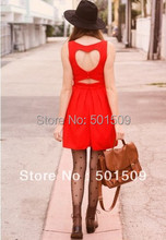 Heart Cut Out Pleated Dress in Red cut out heart design on the back with button closure and nicely pleated dress(China)