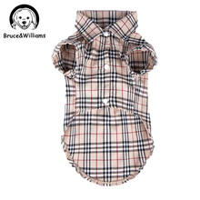 Bruce&Williams Luxury Classic Plaid Pet Dog Clothes Summer T-Shirt Cute Shirt Costume Dress For Small Medium Dogs Cat  DC129