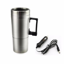 Portable 12v 300ml in Car Coffee Maker Tea Pot Vehicle Heating Cup Lid Outdoor Water Bottle Vacuum Flasks Thermoses(China)