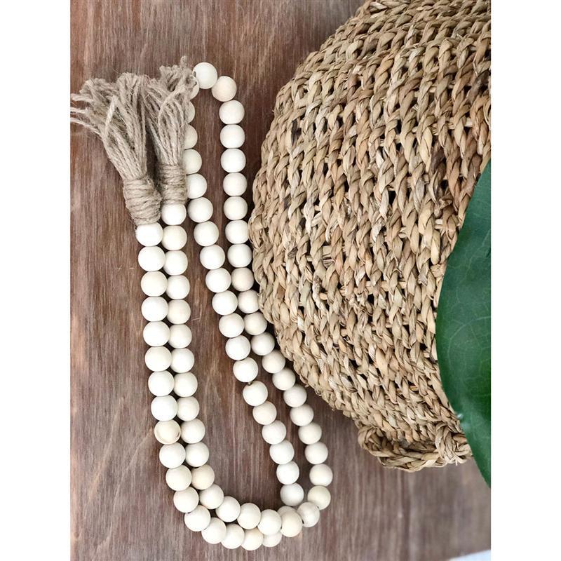 Wood Bead Garland W//Tassels Rustic Country Wood Beads Decor Farmhouse Decor