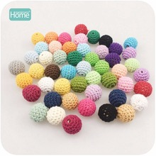 MamimamiHome 50pc/lot Round Wooden Beads Crochet Color Mix Ball 16-20mm Wood Teether Decoration Baby Rattle Toy Accessories(China)