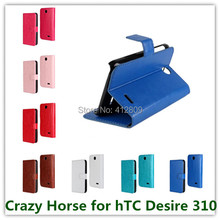 Drop Shipping Crazy Horse Grain PU Leather Stand Folding Pouch Cover Case for hTC Desire 310 D310w with ID Cards Holder Free