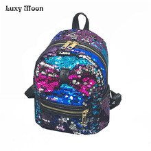 mochilas mujer 2017 PU Leather Sequins Backpack mini backpack mochila Girls Small Travel Princess Bling Backpacks sac a dos