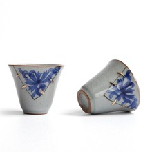 Chinese Unique Antique Blue and White  Ice Crackle Glaze Ceramic Porcelain Teacups Kung Fu  Tea Set Puer Oolong Tea Cup Gift Box