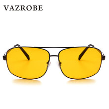 Vazrobe Night Driving Glasses Men Square Yellow Lens Anti Glare Driver's Goggles Night Vision Sunglasses Man(China)