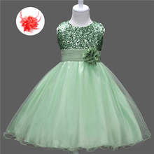 Cheap Flower Girl Clothes for Weddings Short Green Pageant Dresses Back Bow Sequined Apple Green Flowers Girls Dress For Kids(China)