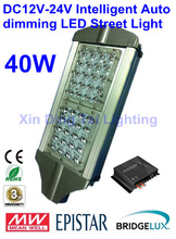 Free Shipping Solar LED Street Light 40W 12V/24V with Intelligent Auto dimming LED Driver Street Lighting lamp